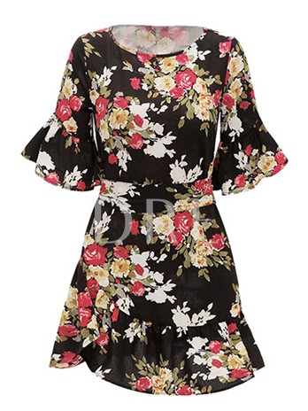 Floral Prints Belt Waist Day Dress