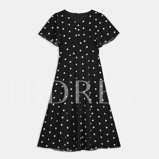 V-Neck Dots Pattern Sheath Day Dress