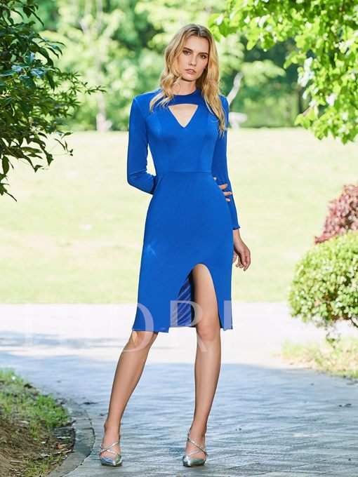 Sheath Scoop Long Sleeves Split-Front Cocktail Dress