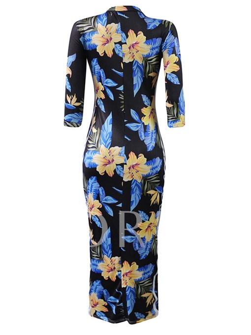 3/4 Sleeve Floral Women's Sheath Dress