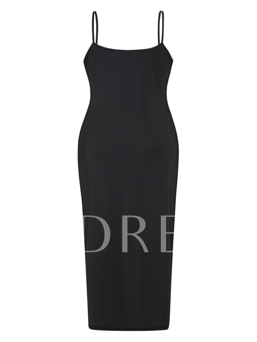 Black Zippered Beads Decorated Women's Party Dress