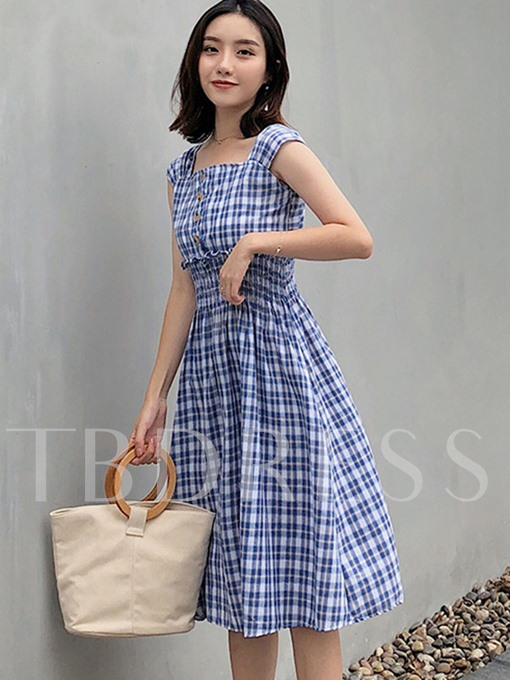 Square Neck Pleated Waist Button Day Dress