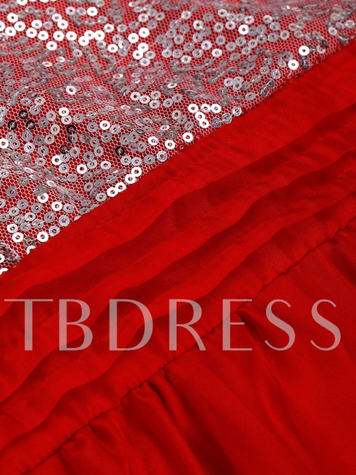 Red Sequins Backless Women's Maxi Dress