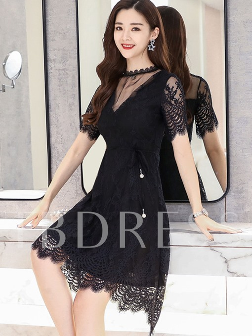 Black Mesh Neck High-Waist Day Dress