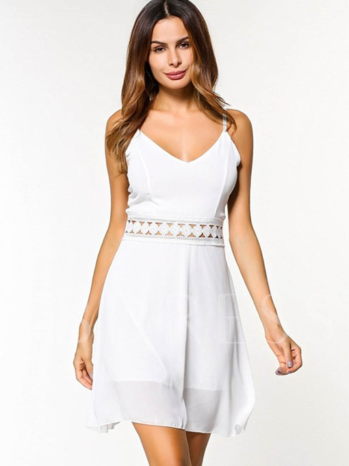 White Hollow Strappy Women's Sexy Dress