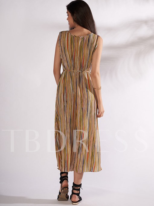 Sleeveless Striped Lace up Women's Maxi Dress