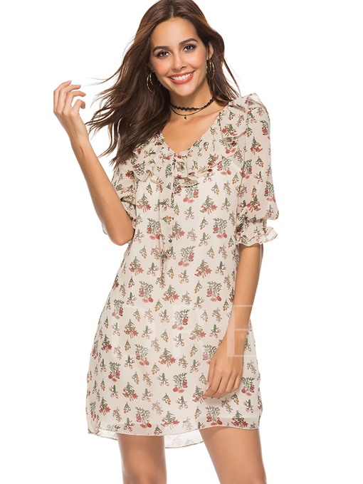 Half Sleeve Floral Women's Day Dress