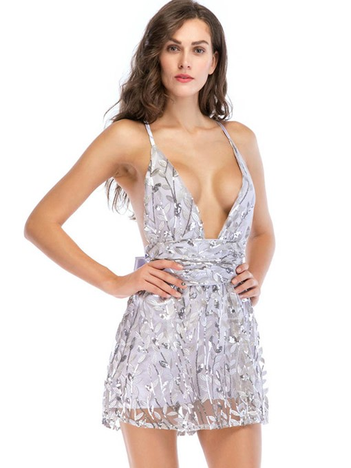 Sequins V Neck Backless Women's Party Dress