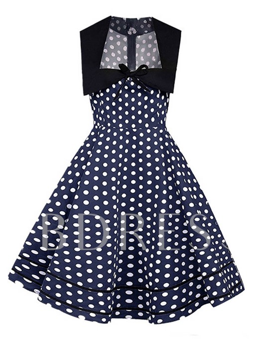 Bowknot Prints Sleeveless A-Line Day Dress