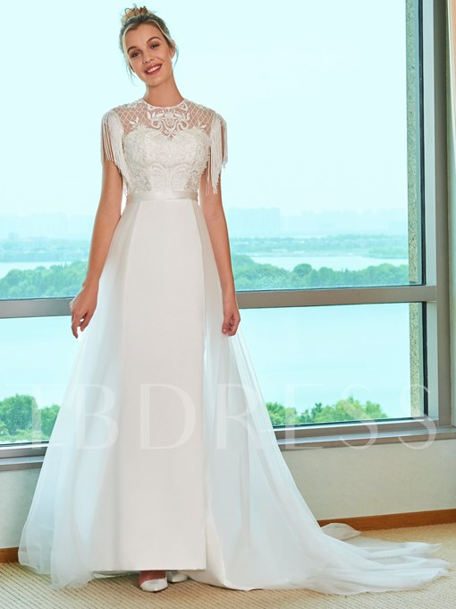 Tassel Sleeve Beaded Embroidery Lace Wedding Dress