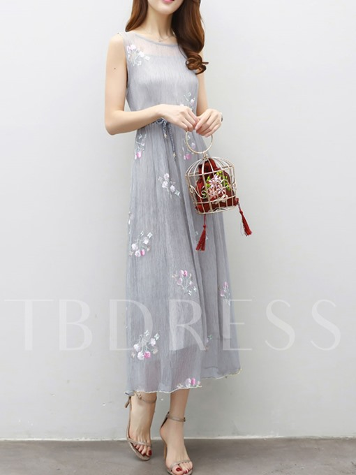 Mesh Floral Embroidery Sleeveless Maxi Dress