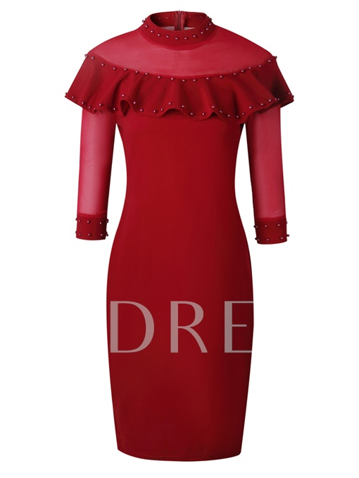 Turtle Neck Beads Decorated Women's Sheath Dress