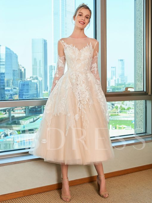 Illusion Neck Lace Appliques Tea-Length Wedding Dress