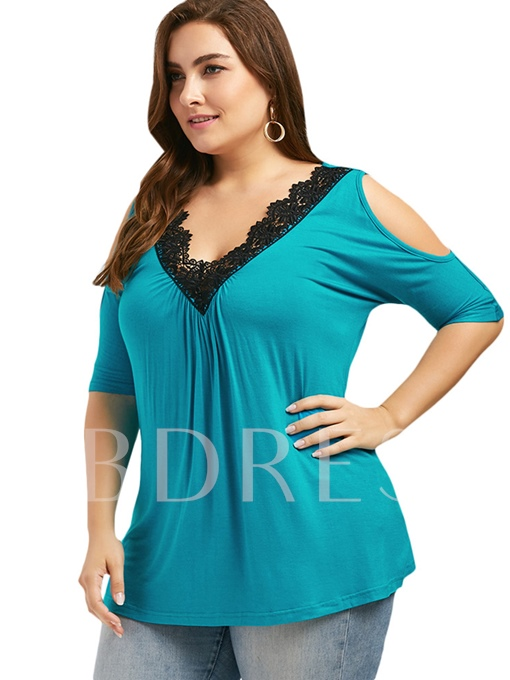 Plus Size Cold Shoulder Lace Women's T-Shirt