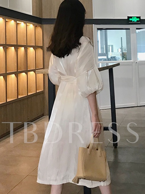 White Half Sleeve Belt Waist Elegant Day Dress