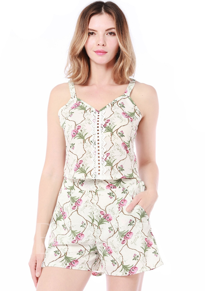 Floral Print Cami Women's Two Piece Set, Summer, 13308432