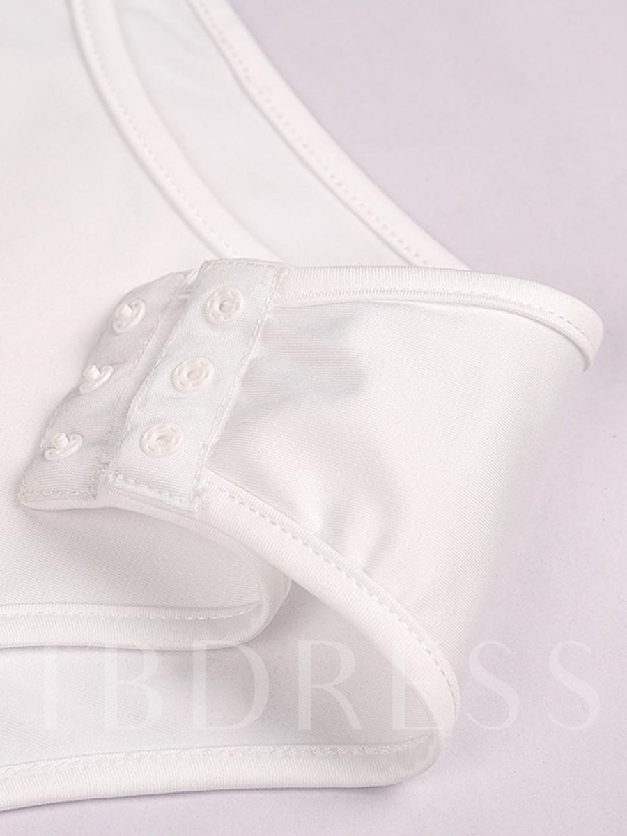 White 3D Print One Piece Bathing Suits