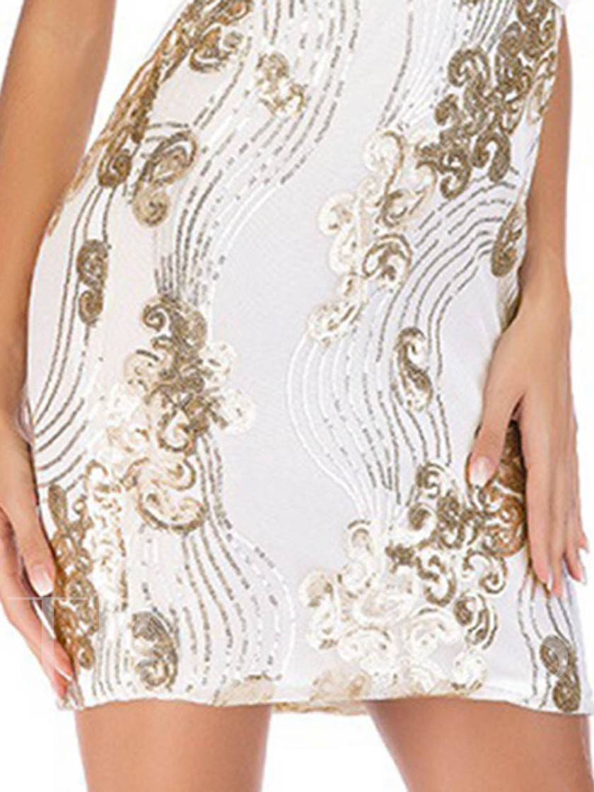 White Backless Sequins Women's Party Dress