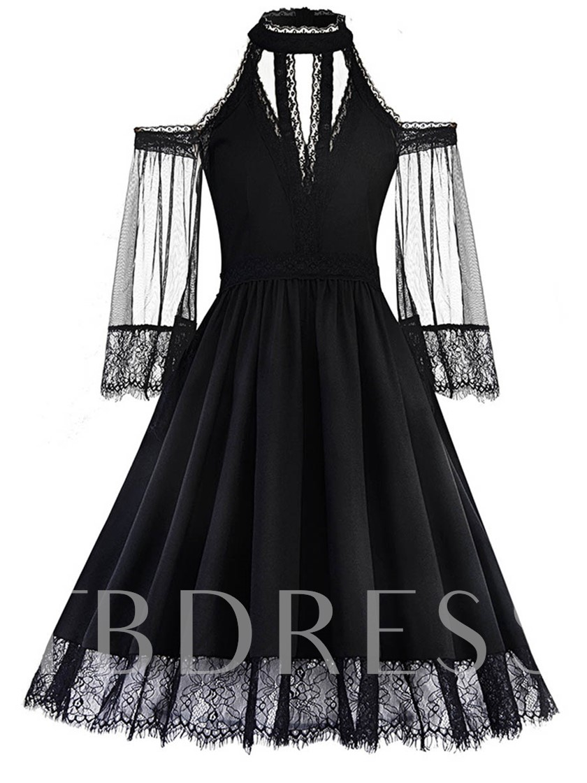 Black Cold Shoulder See-Through Women's Day Dress