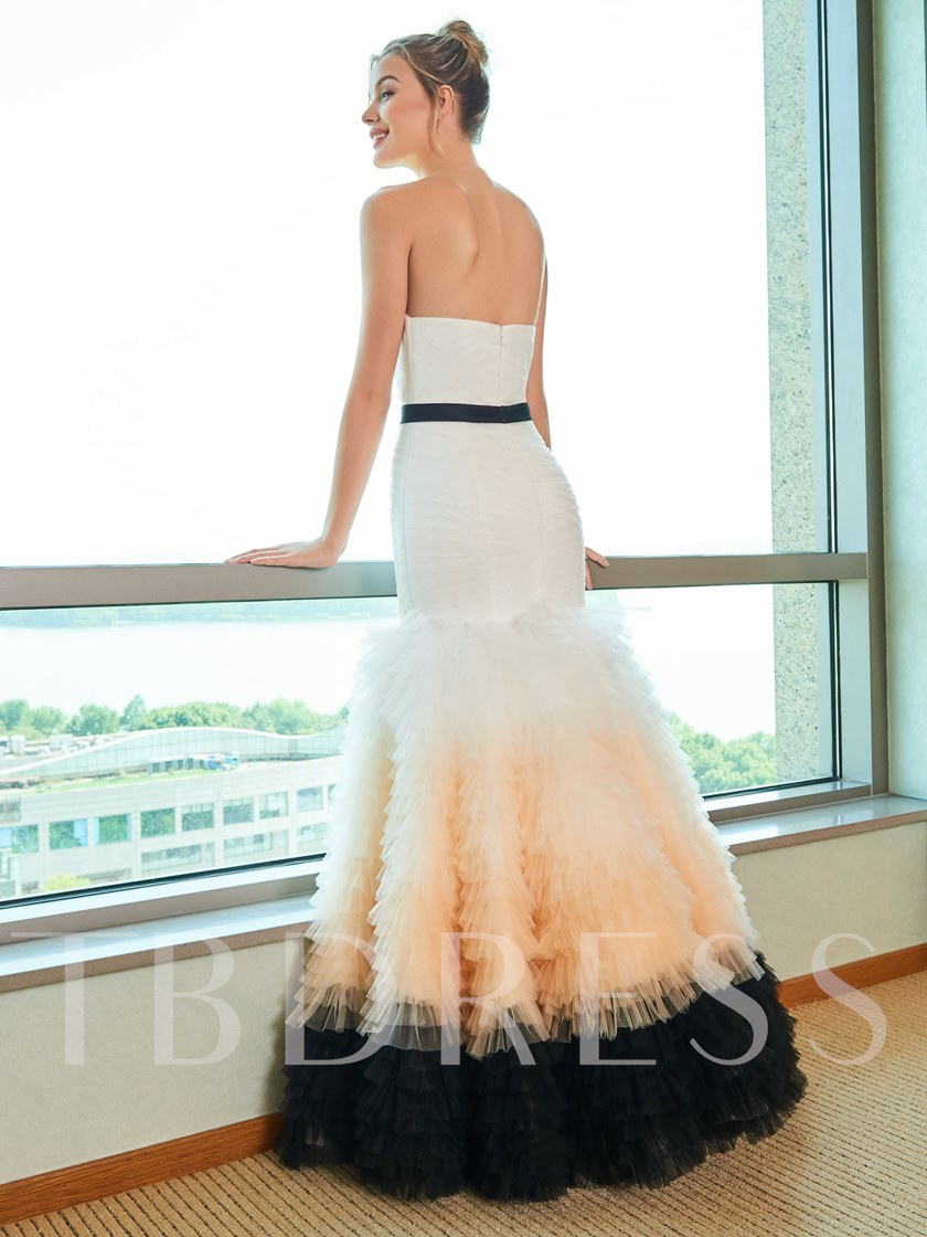 Strapless Tiered Mermaid Color Wedding Dress