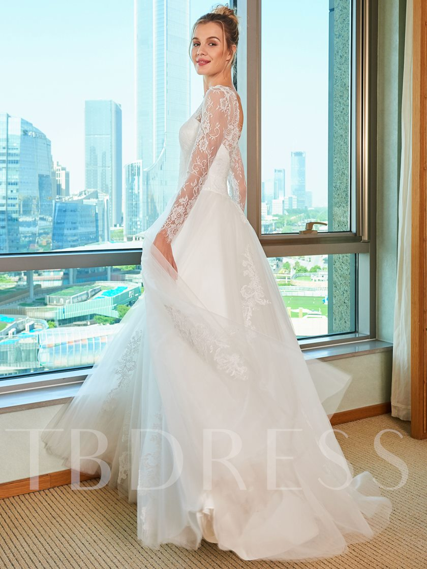 Lace Top Long Sleeve Wedding Dress