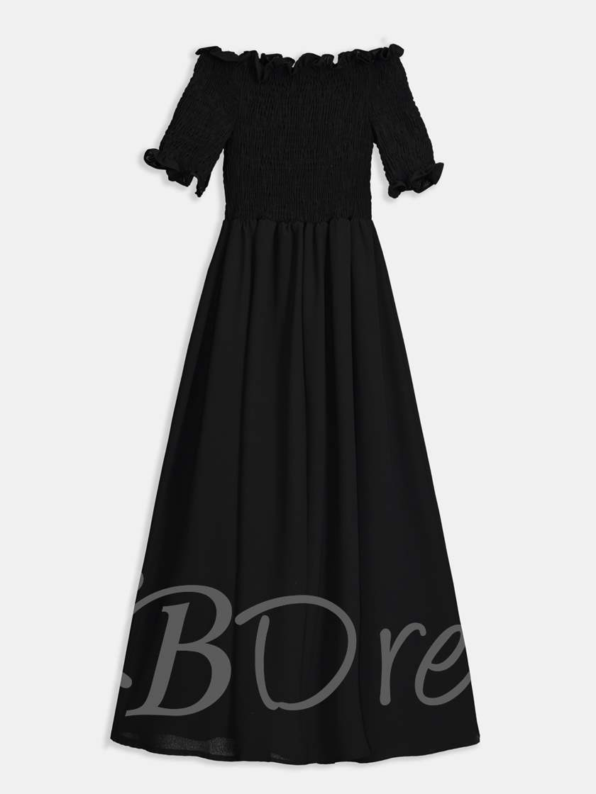 Off Shoulder Short Sleeve A-Line Maxi Dress