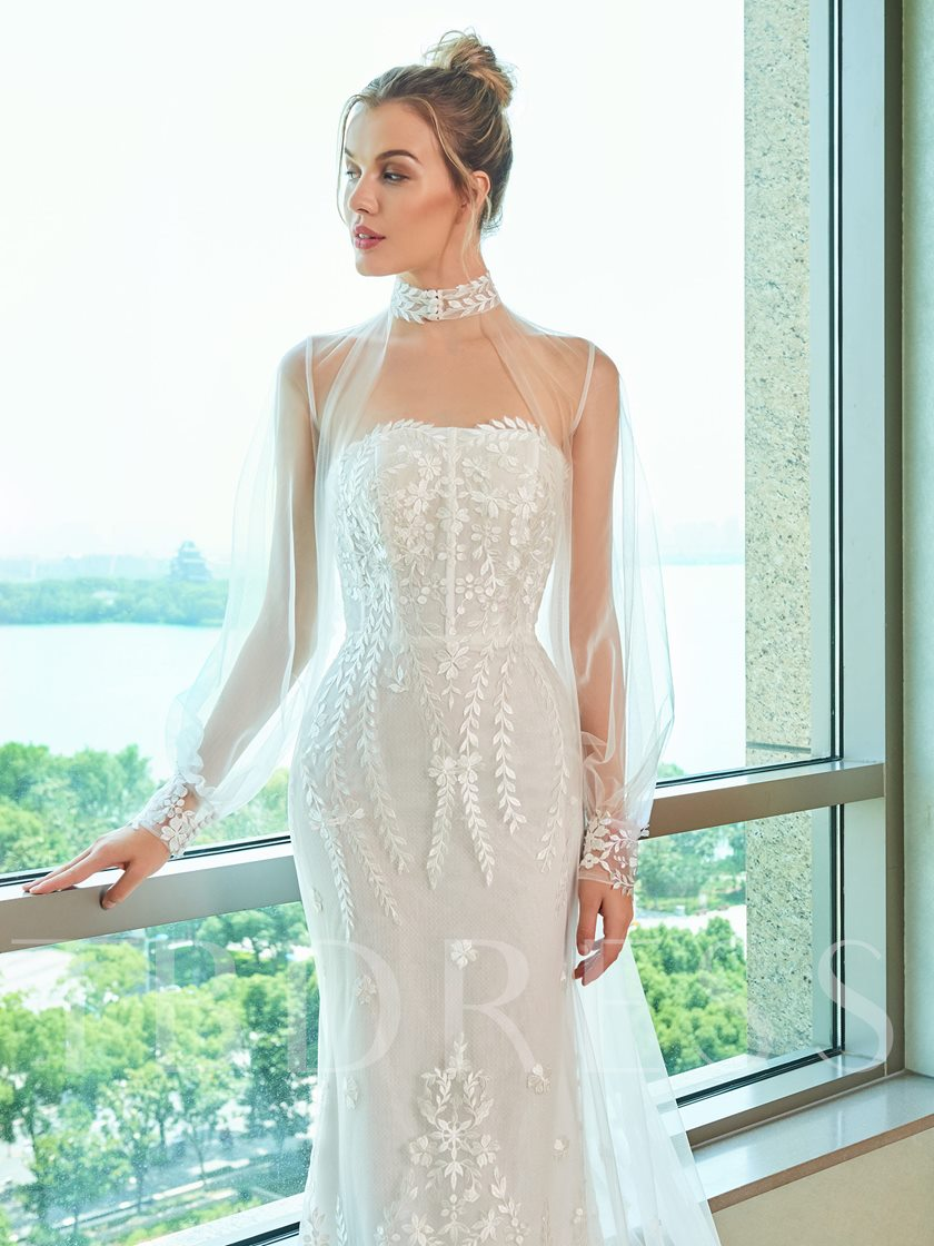 Mermaid Lace Wedding Dress with Long Sleeve Jacket