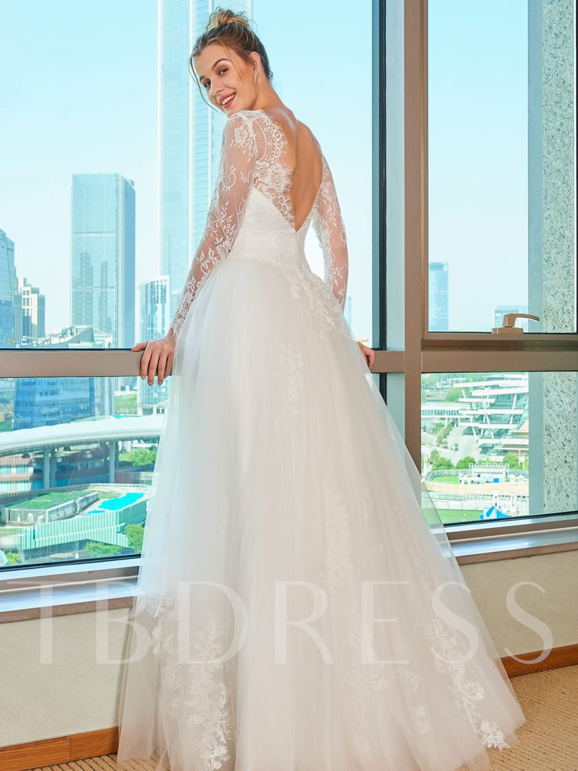 Lace Top Long Sleeve Garden Wedding Dress