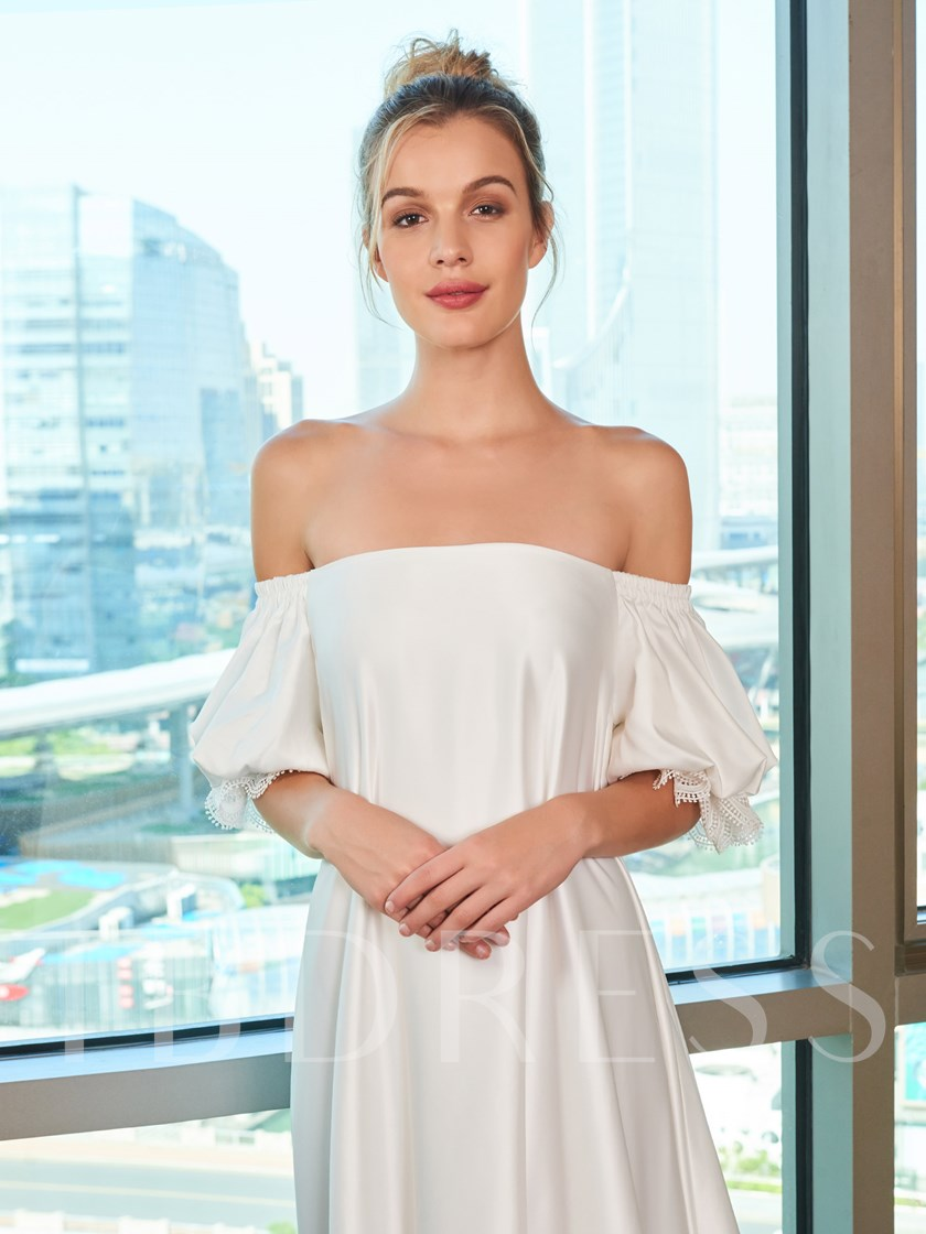 Off the Shoulder Short Sleeve Plus Size Wedding Dress