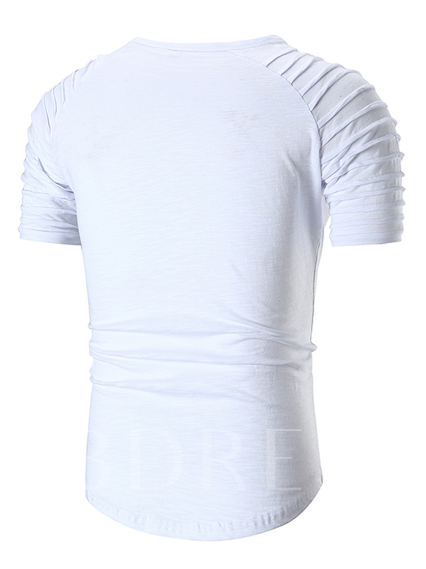 Stripe Solid Color Plain Men's T-Shirt