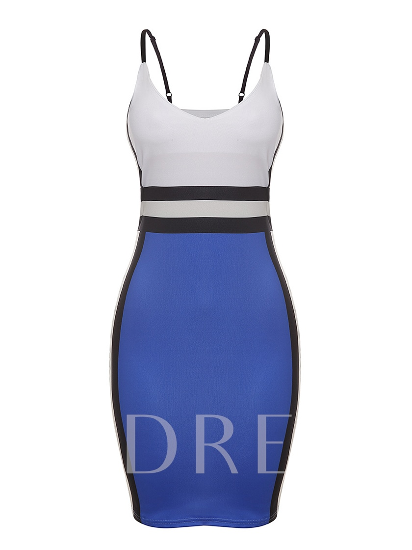Spaghetti Strap Color Block Backless Party Dress