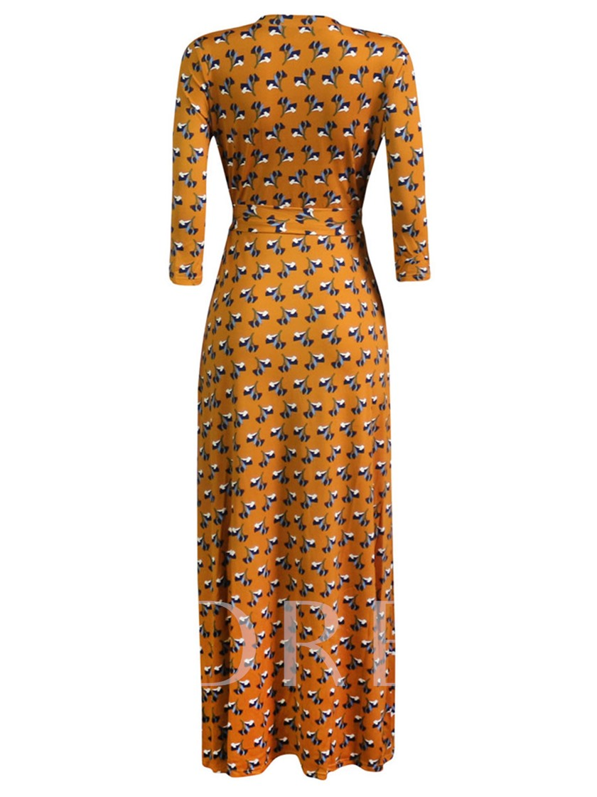 Printing Lace up 3/4 Sleeve Women's Maxi Dress