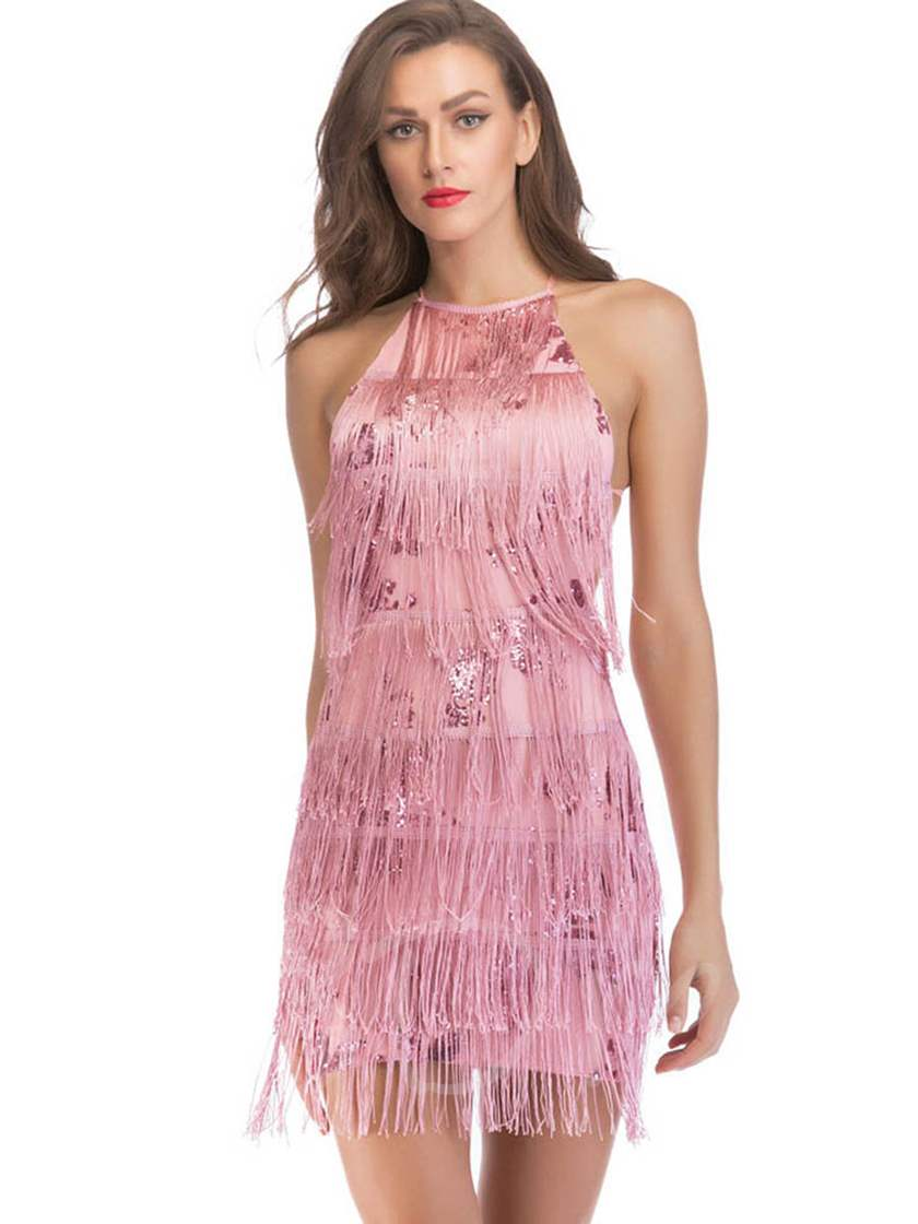 Backless Tassels Women's Party Dress