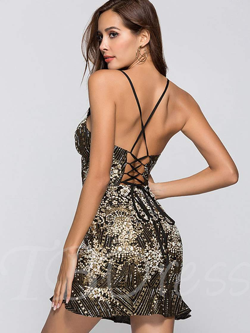 Black Sequins Strappy Women's Party Dress