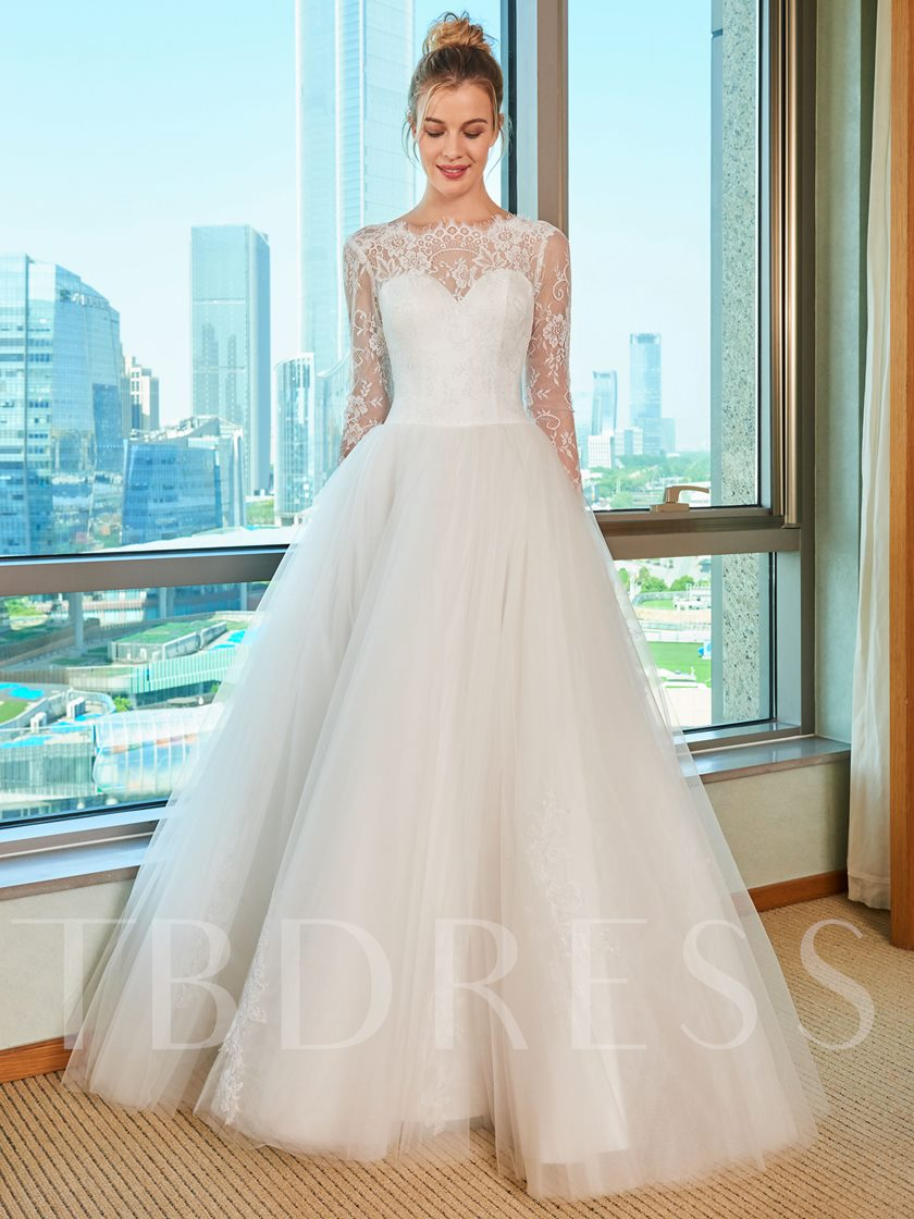 Lace Top Long Sleeve Wedding Dress Tbdress