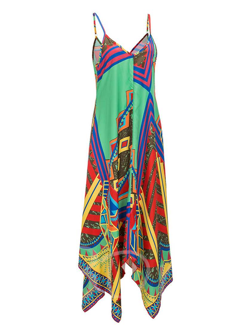 Strappy Asym Printing Women's Maxi Dress