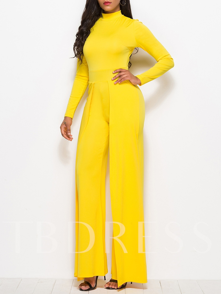 Plain Long Sleeve Split Wide Legs Women's Jumpsuit