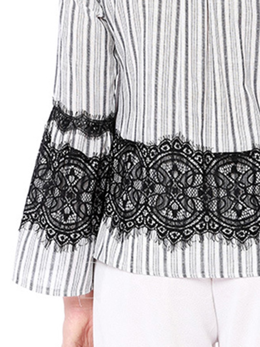 Bell Sleeve Stripe Print Lace Women's T Shirt
