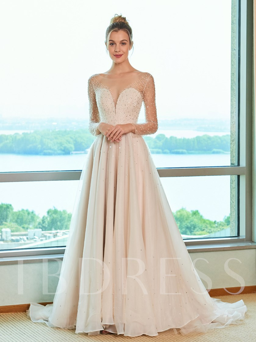 Illusion Neck Beading Long Sleeve Wedding Dress