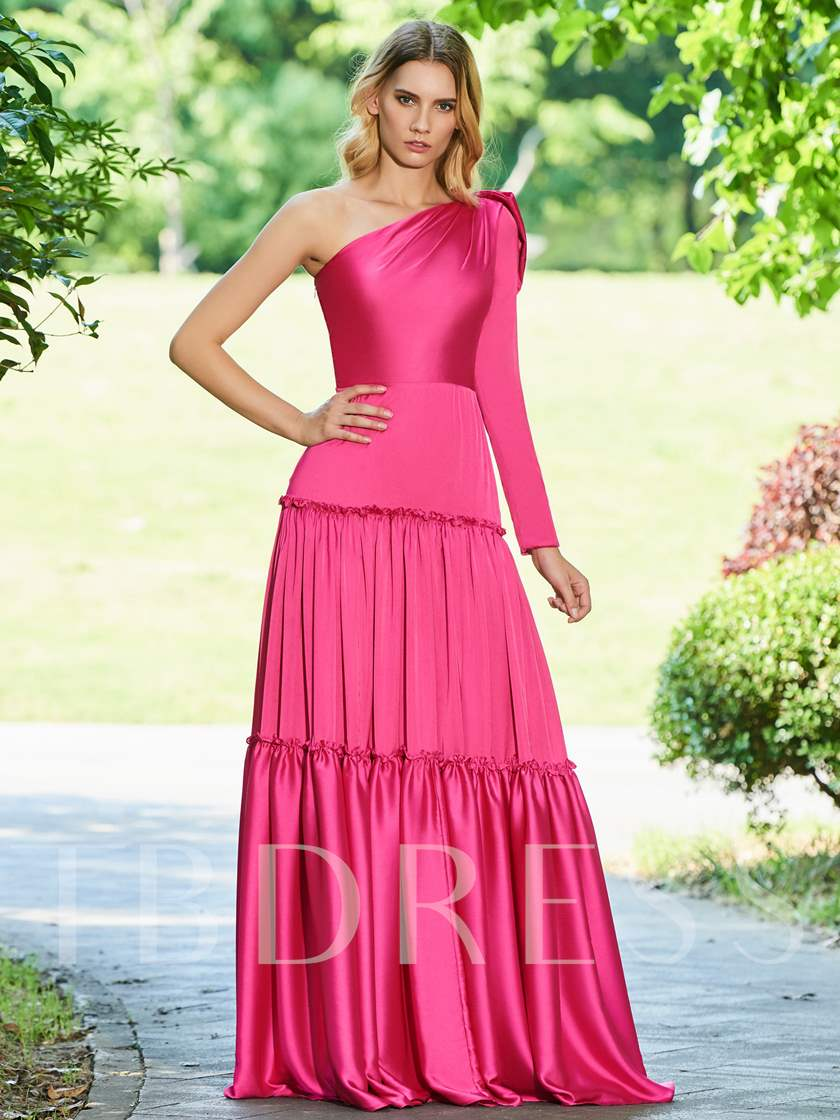 A-Line One-Shoulder Bowknot Evening Dress