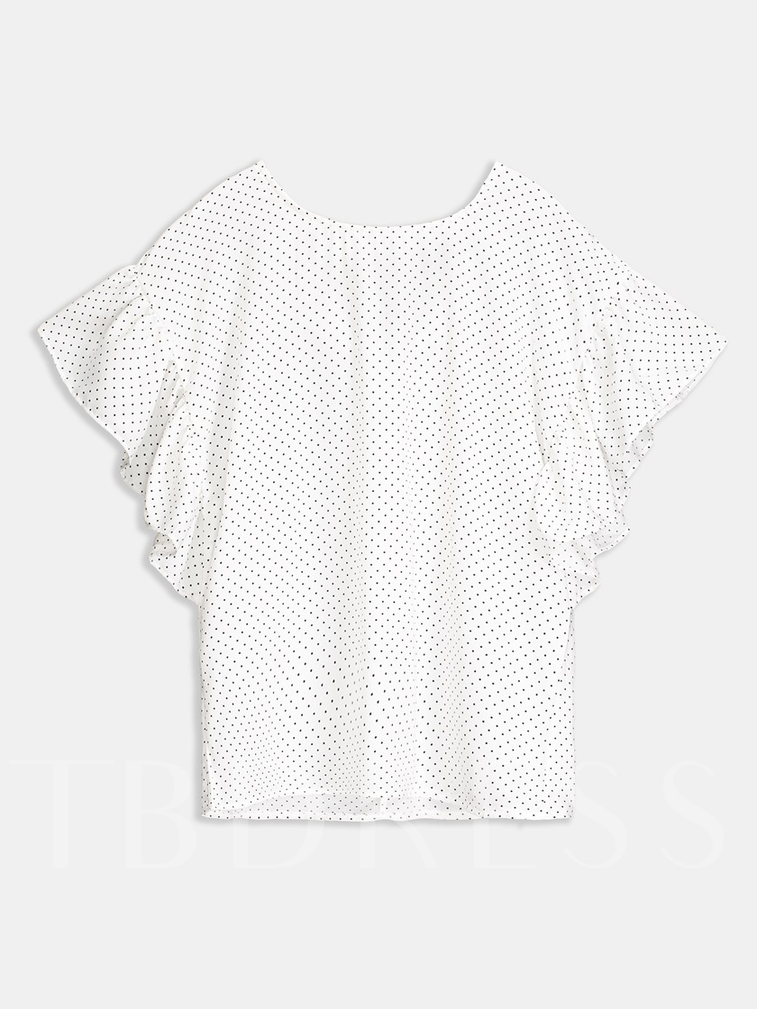Frill Tie Front Top Polka Dot Women's Blouse