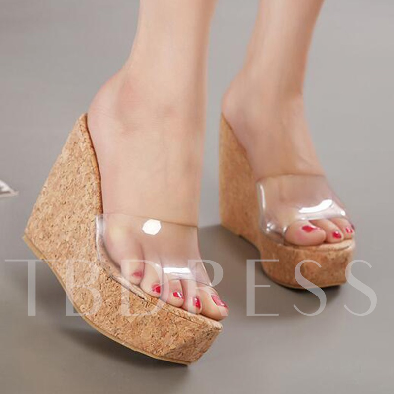 Buy Wedge Heel Platform Summer PVC Flip Flop for Women, Spring,Summer, 13298336 for $47.81 in TBDress store