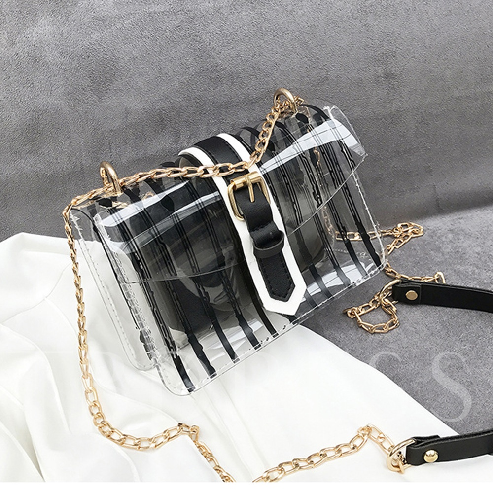Summer PVC Stripe Beach Small Clear Jelly Bag