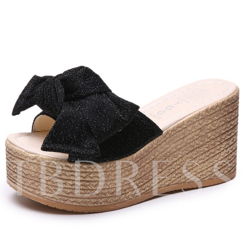Buy Bow Platform Wedge Heel Women's Summer Flip Flop, Spring,Summer, 13299483 for $41.35 in TBDress store