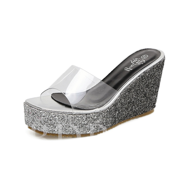 Buy Sequin Wedge Heel Gradient Flip Flop for Women, Spring,Summer, 13298335 for $52.11 in TBDress store