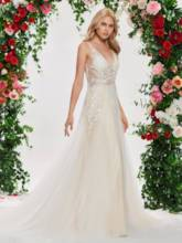 V-Neck Appliuqes Button Wedding Dress