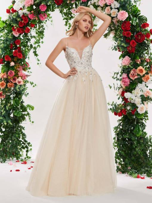 Beading Liques Spaghetti Straps Wedding Dress