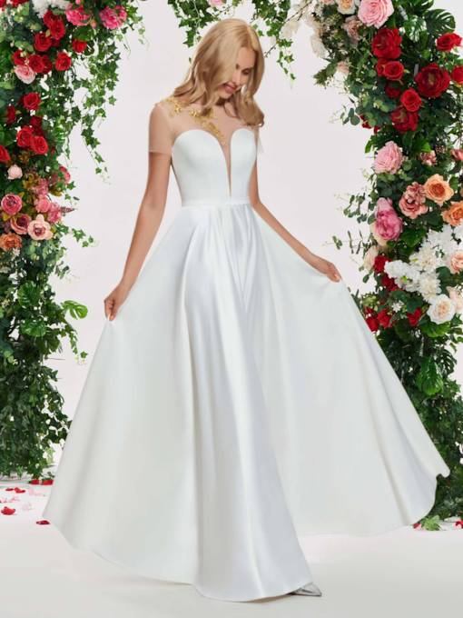 Sheer Tulle Short Sleeve Beading Wedding Dress