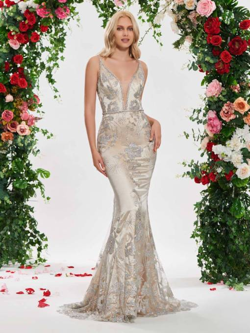 Beaded Straps Deep V-Neck Sequins Wedding Dress