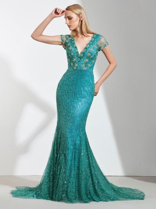 Mermaid Lace Empire Beaded V-Neck Evening Dress